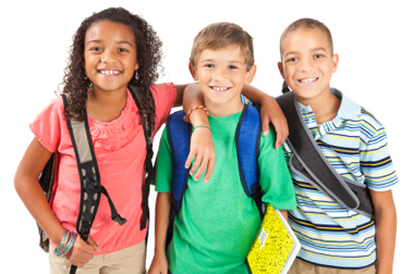 kids wearing backpacks