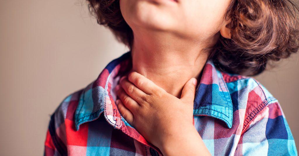 Child have sore throat sick. Children, healthcare, medicine concept; blog: Common School-Age Illnesses
