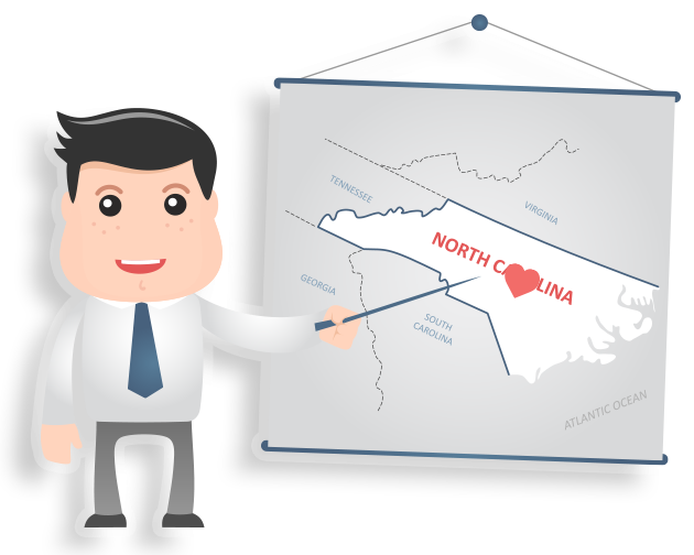 clipart man pointing at map of north Carolina